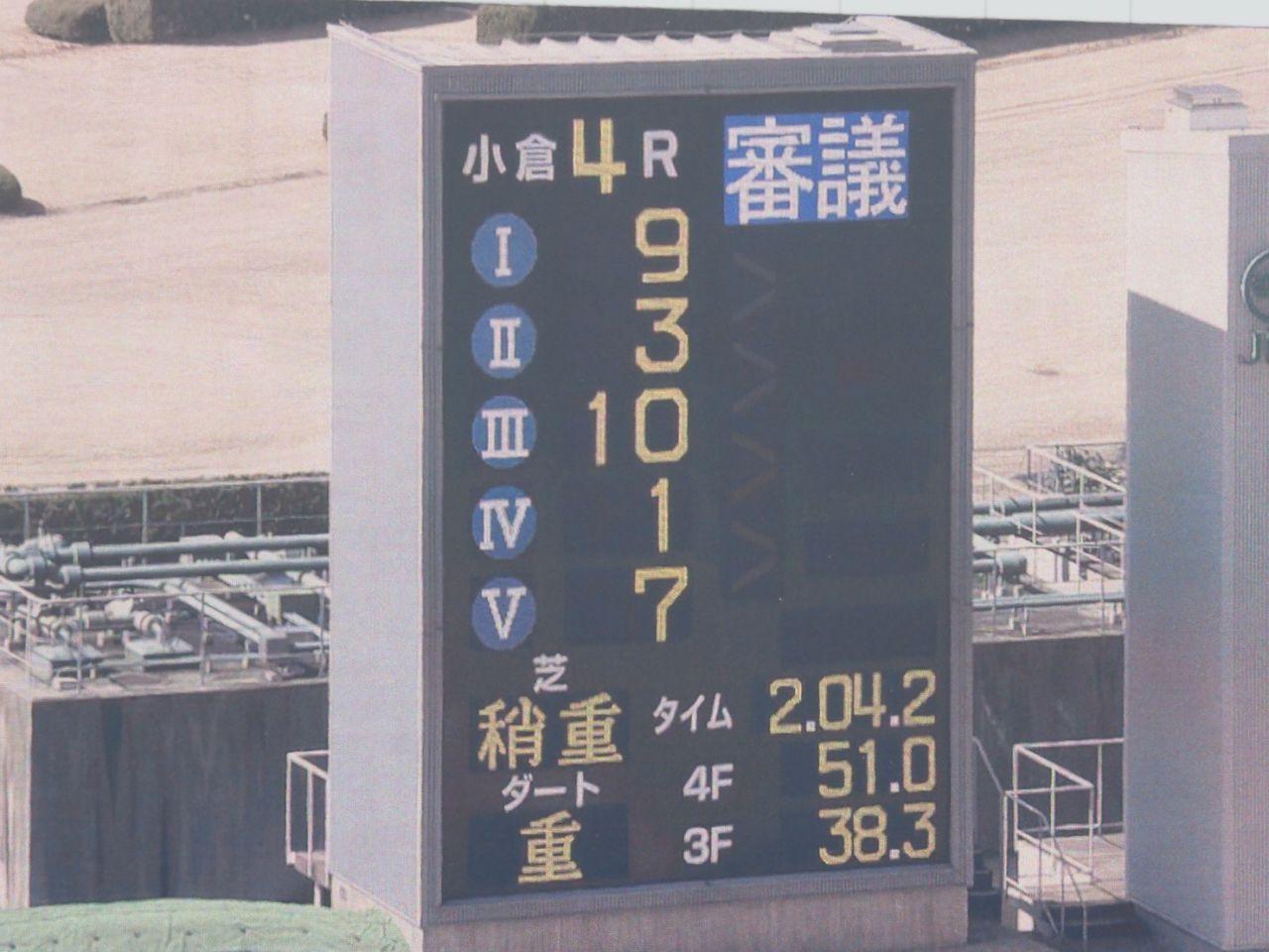 【小倉4R】ソツナサが繰り上がりでV!マイネルポインターが降着